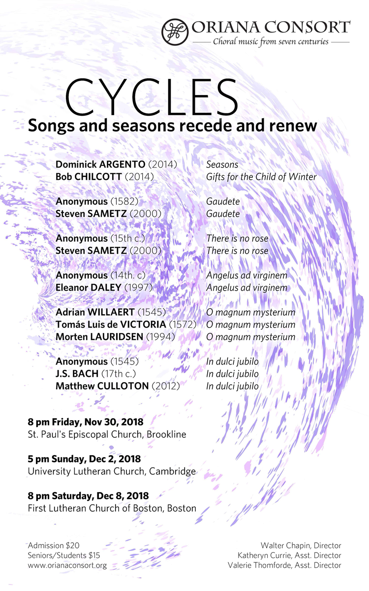 Cycles: Songs and seasons recede and renew - Greater Boston Choral  Consortium